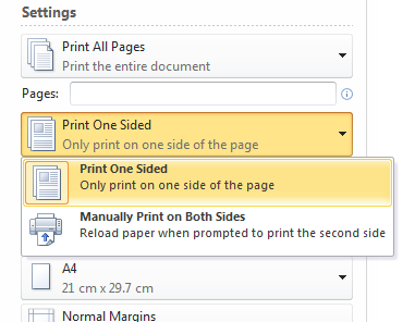 how to choose double sided printing word